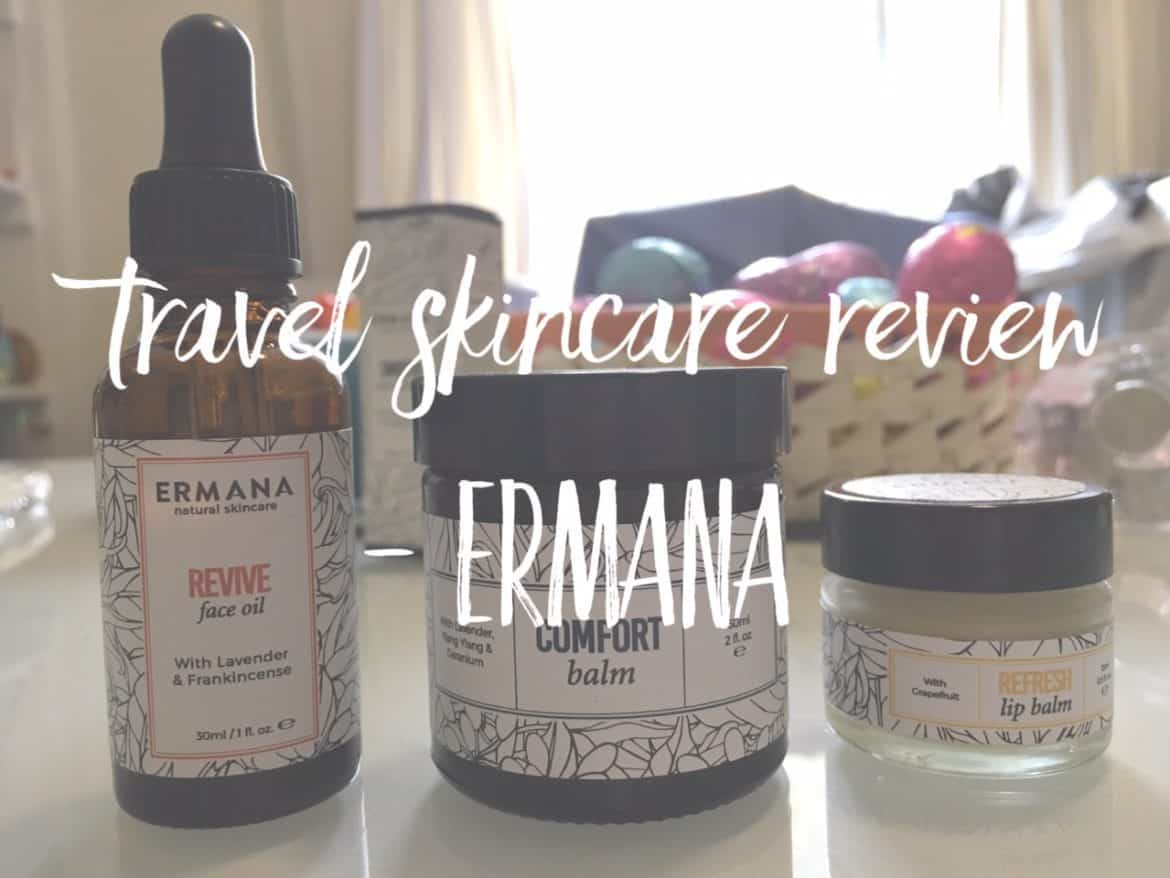 Best travel skincare routine using travel size natural cosmetics by Ermana
